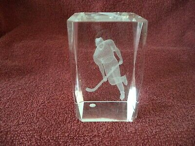 "Etched 3"" x 2"" Crystal Glass Cube of Hockey Player Paper Weight"