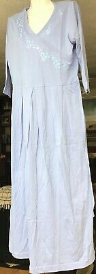 Vermont Country Store Faux Crossover Pale Blue Wrap Dress size M