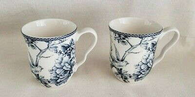 222 Fifth ADELAIDE BLUE & WHITE Coffee Tea Cups Mugs  - LOT of 2