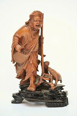 Exquisite antique Chinese carved boxwood figure of a peasant, boy & animal