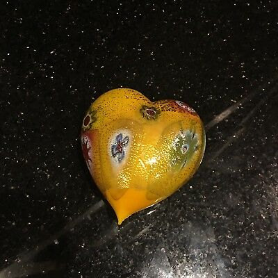 Beautiful Decorative Heart Murano Yellow
