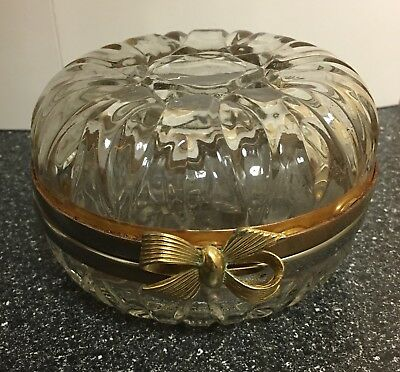 Vintage Glass Trinket Box Decor Decorative Collectible