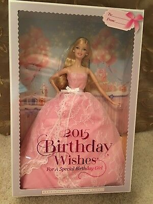 Mattel Barbie 2015 Birthday Wishes Collector Pink Label Blonde / Blond