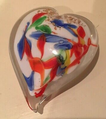 Beautiful Decorative Heart Murano Art Glass Paperweight White / Multi Color