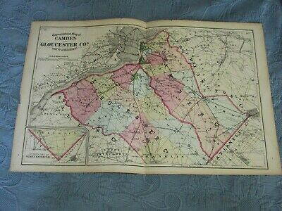 Antique 1872 Beers,Comstock, & Cline Map of Camden & Gloucester County,NJ