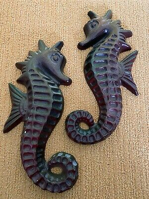 Pair Of SEAHORSE Wall Pocket Ornament Vintage Retro Brown And Green