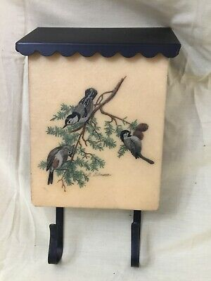 Vintage 60s Bacova Guild Mailbox Birds Metal Newspaper Bracket Fiberglass
