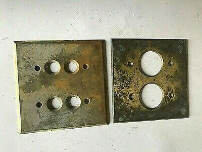 2 Vintage Dbl Brass Electrical Push Button Switch Plates Architectural Salvage