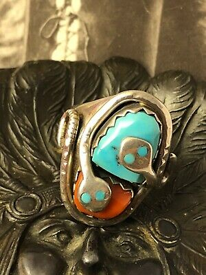 Zuni Effie Calavaza sterling 925 turquoise red coral snake s9.5 ring 032720cFH