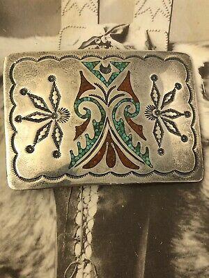 Nakai Navajo sterling silver turquoise & red coral chip belt buckle H6 030920iDI