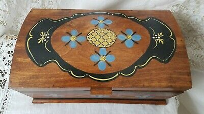 """Hand Made, Hand Painted"" ""2011""  Hinged Floral Design Wooden Keepsake Box"
