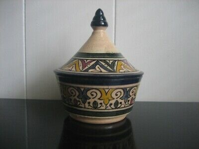 Vintage Small Lidded Jar Made In Morocco Hand Crafted Trinket Dish Artist Signed