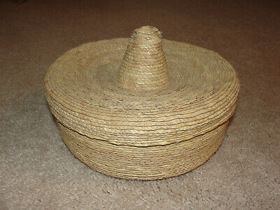 Wicker Woven Basket With Decorative Tambourine