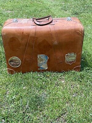 Vintage Antique Leather SUITCASE Travel  Case BROWN Luggage Travel Stickers