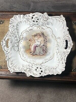 Z.S. & CO. ZEH SCHERZER Porcelain Serving Plate Bavaria Hand Painted 10""