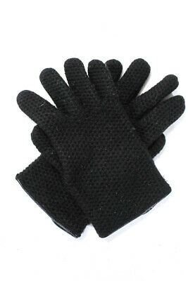 Portolano Womens Knit Cashmere Leather Trim Winter Gloves Black One Size