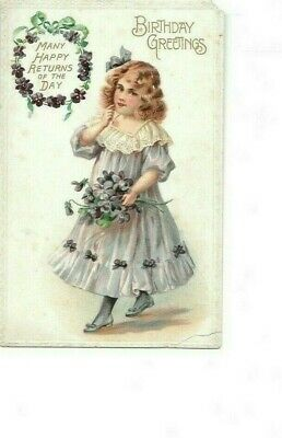 Antique Postcard Beautiful Little Girl Birthday Printed Germany c1910-5 With Bio