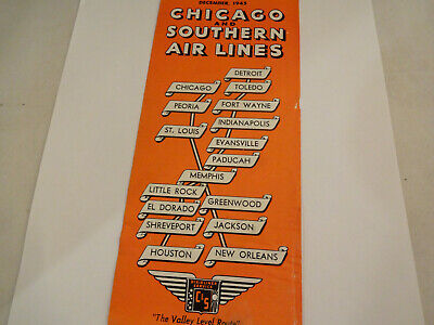 Vintage December 1945 Chicago & Southern Airlines C & S Timetable