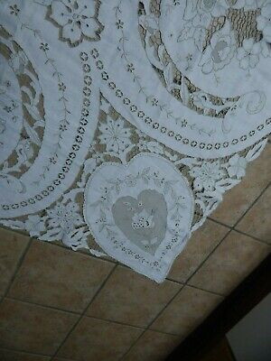 Antique Italian  Valentines Day Fabulous Hand Embroidered  Banquet Tablecloth