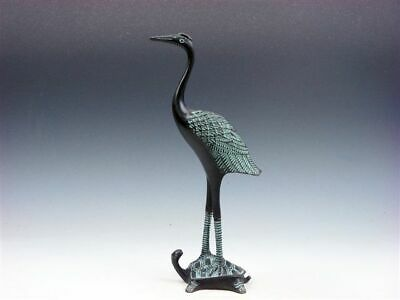 Vintage Bronze Crafted Sculpture Crane Standing On Turtle #06031905