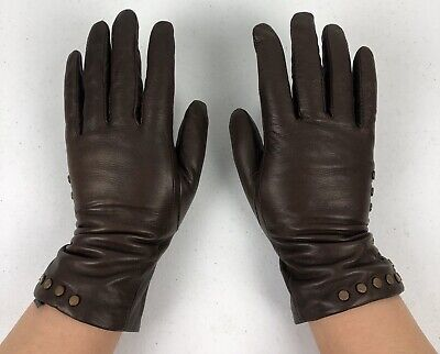 Mercer Madison Womens Medium Gloves Brown Genuine Leather 100% Cashmere Lining