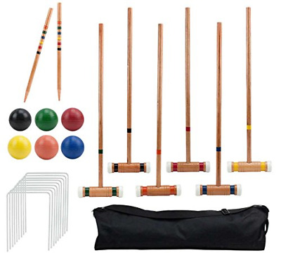 Six-Player Deluxe Croquet Set with Wooden Mallets, Colored Balls, & Sturdy Bag -