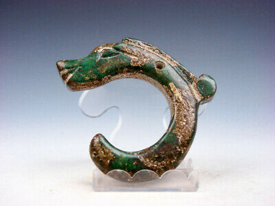 Old Nephrite Jade Carved HongShan Culture Sculpture C Shape Dragon #05182012