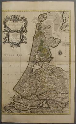Netherlands 1696 Sanson & Jaillot Wall Two Sheets Antique Copper Engraved Map