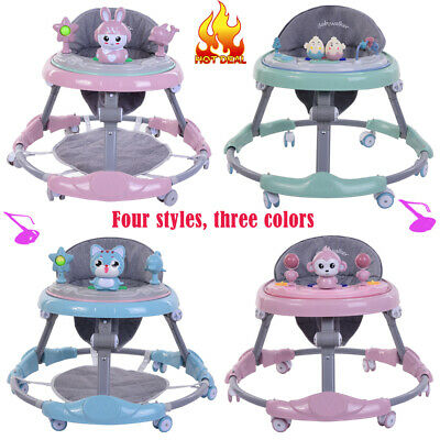 Adjustable Foldable Baby Walker Children Toddler Walking Car Musial Play Tray