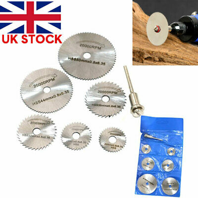 7Pcs HSS Circular Saw Blades Wood Cutting Discs Mandrel For Rotary Drill 22-50mm