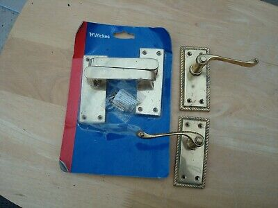 "2 X Pairs Of Brass Lever Door Handles Approx 4"" Long New From Wickes And Used"