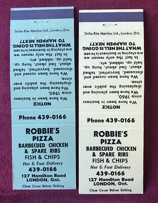 2 Matchbook Covers Robbie's Pizza London Ontario