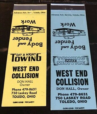 2 Matchbook Covers West End Collision Toledo Ohio Don Hall Owner