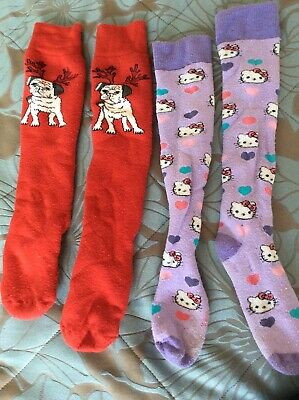 Girls M&S Slipper Socks (Hello Kitty / Pug) Size 4-7 VGC