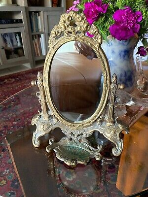 Vtg Ornate Solid Brass Ornate Victorian Style Vanity Table Stand Up Mirror 11.5""