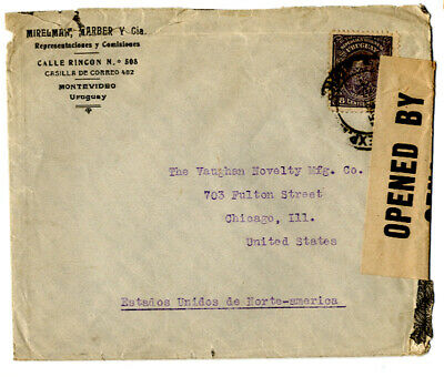 WWII URUGUAY cover to USA, US censorship