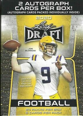 2020 LEAF DRAFT FOOTBALL PREMIUM RETAIL BLASTER BOX New, Sealed Box = 100ct