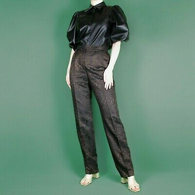 VINTAGE 80's 90's Betty Barclay Brown Jacquard Wool Straight Trousers Pants S 10