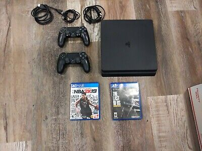 Sony PlayStation 4 Slim 500GB Black PS4 CUH-2015A System + 2 Controllers +2Games