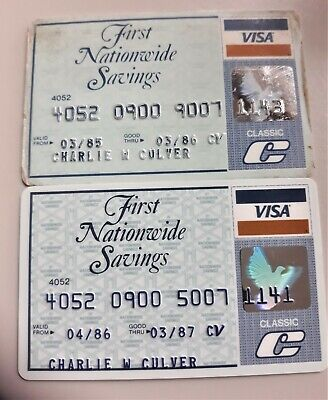 2 Vintage Credit Cards 1St Nationwide Savings 1986-87 1 Used Sig. 1 Mint