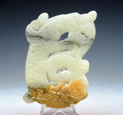 Vintage Nephrite Jade Carved Pendant Sculpture Furious Curly Dragon #03251708C