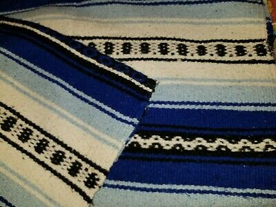 Vintage Hand Woven Mexican Weaving Rug Blanket Wall Hanging Rug 1970's blue
