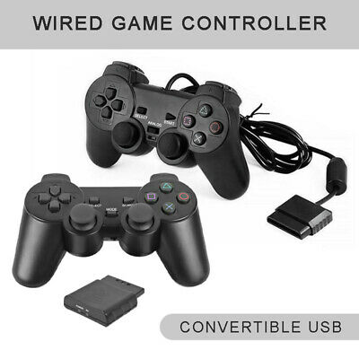 2020 Wired/Wireless Gamepad Black Dual-shock Controller for PS2 PlayStation 2 su