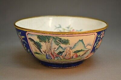 Early 18th c. - 19th c. Antique Chinese Enamel Bowl Mountains People Flowers Bat
