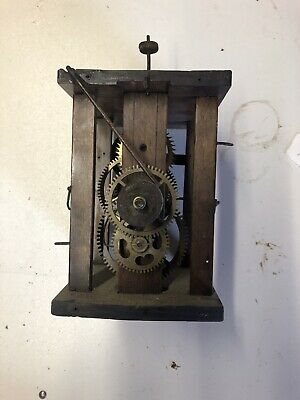 Antique wooden wall mounted postmans clock spares or repairs
