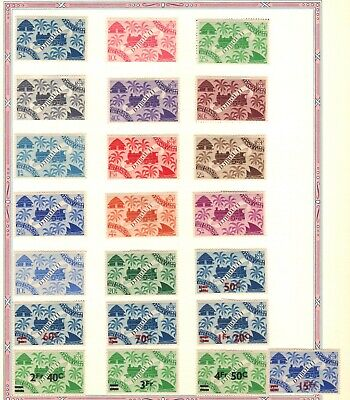 Stamps 1945 Djibouti French Colonial Railroad Train Overprints  Unused Hinged