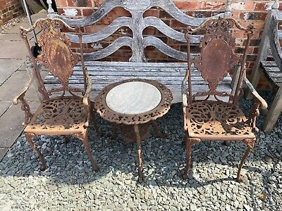 Very Old Garden Cast Iron Chairs And Table With Marble Top Ornament