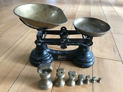Vintage Librasco Cast Iron Kitchen Scales   Brass Bell Weights Sweet Shop Bakers
