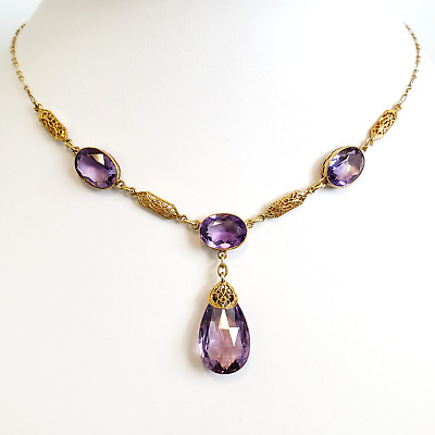 14K Yellow Gold Amethyst Briolette Necklace