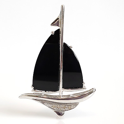 14K White Gold Diamond and Onyx Sailboat Pendant